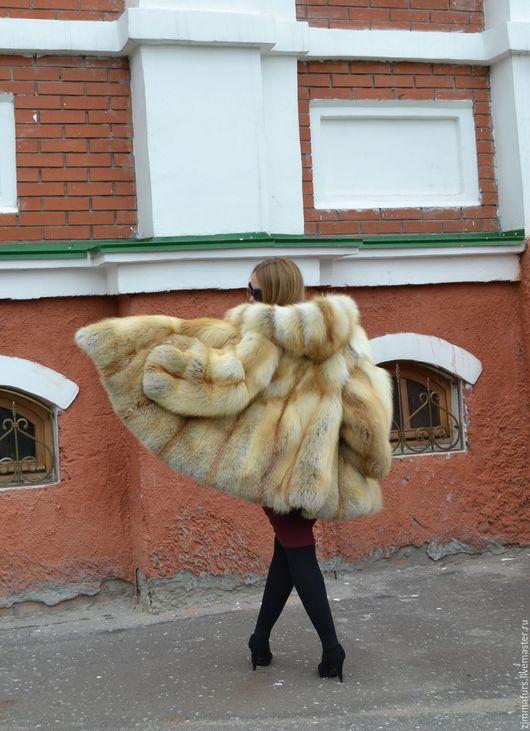 Верхняя одежда ручной работы. Ярмарка Мастеров - ручная работа. Купить Шуба. Манто из меха сибирской рыжей лисы с капюшоном.. Handmade.