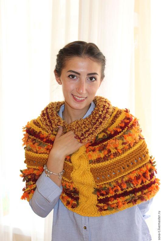 """Пончо ручной работы. Ярмарка Мастеров - ручная работа. Купить Вязаное пончо """"Осень"""". Handmade. Однотонный, вязаный шарф, вязание"""