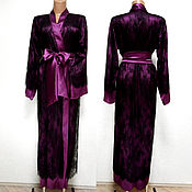 Одежда ручной работы. Ярмарка Мастеров - ручная работа Пеньюар из натурального шелка. Халат кимоно с гипюром.. Handmade.