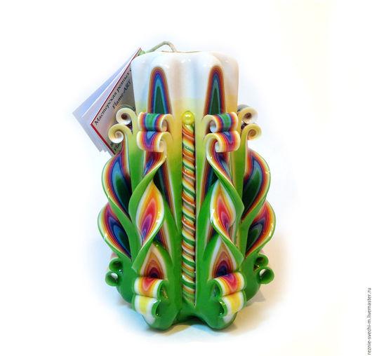 Свечи ручной работы. Ярмарка Мастеров - ручная работа. Купить Резная свеча Радуга на зеленом (арт.203-1). Handmade.