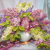 Картины и панно handmade. Livemaster - original item The picture ribbons of lilac in a white vase. Handmade.