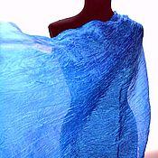 Аксессуары handmade. Livemaster - original item Scarf stole light blue cornflower blue silk pressed female. Handmade.