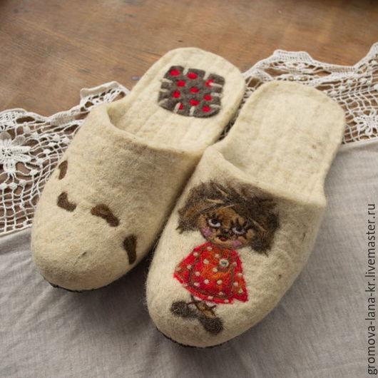 """Обувь ручной работы. Ярмарка Мастеров - ручная работа. Купить Тапочки валяные, войлочные.""""Домовёнок Кузя"""". Handmade. Разноцветный"""