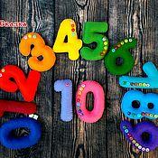 Мягкие игрушки ручной работы. Ярмарка Мастеров - ручная работа Цифры из фетра,на магнитах (разноцветные, с пуговичками). Handmade.