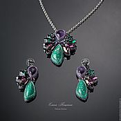 Украшения handmade. Livemaster - original item Purple-green bird of Paradise earrings Purple. green. Handmade.