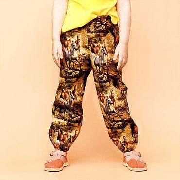 Одежда ручной работы. Ярмарка Мастеров - ручная работа Брюки шаровары из хлопка для девочки ростом 105-110см. Handmade.