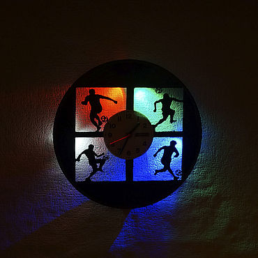For home and interior handmade. Livemaster - original item Wall clock with illumination from a plate in children`s Football. Handmade.