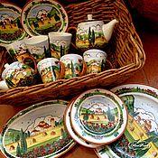 Посуда handmade. Livemaster - original item Painted porcelain Tea set Poppies of Tuscany. Handmade.