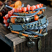 Украшения handmade. Livemaster - original item Boho-chic bracelet with coral