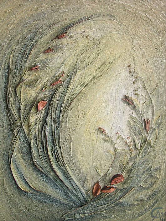 """Интерьерные композиции ручной работы. Ярмарка Мастеров - ручная работа. Купить Флористический коллаж """"Утро"""". Handmade. Структурная паста, песок"""
