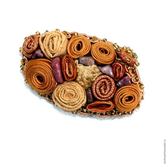 """Броши ручной работы. Ярмарка Мастеров - ручная работа. Купить Брошь текстильная """"Бежево-коричневая"""" с натуральными камнями. Handmade. Комбинированный"""