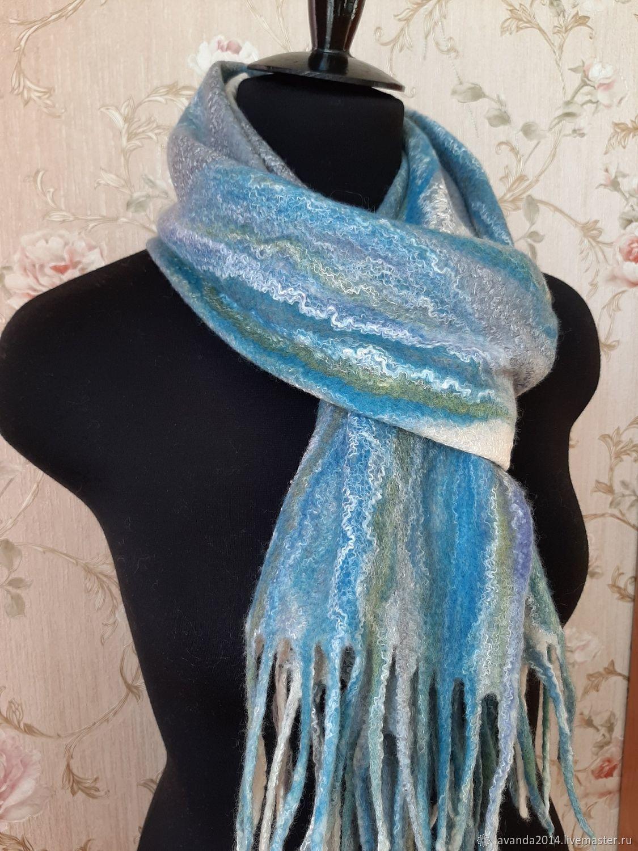 Валяный шарф из новозеландского мериноса с шёлком, Шарфы, Санкт-Петербург,  Фото №1