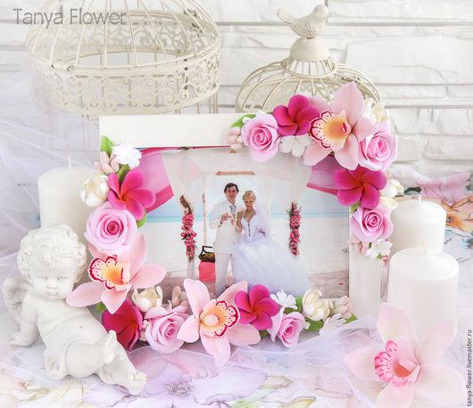 Фоторамки ручной работы. Ярмарка Мастеров - ручная работа. Купить Свадебная фоторамка с розовыми цветами. Handmade. Розовый, фоторамка с розами