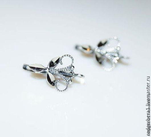 """Для украшений ручной работы. Ярмарка Мастеров - ручная работа. Купить 10 пар швенз """"Трилистник"""" - серебрение 925 пробы. Handmade."""