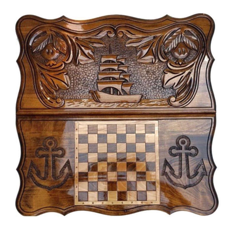 Backgammon handmade 'Ship' Art. .066, Backgammon and checkers, Moscow,  Фото №1