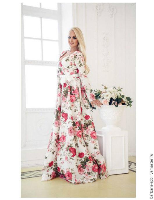 Платья ручной работы. Ярмарка Мастеров - ручная работа. Купить Длинное платье Пионы,  платье в пол с рукавом и вырезом. Handmade.