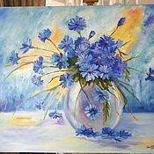 Картины и панно ручной работы. Ярмарка Мастеров - ручная работа Синие цветы. Картина маслом. Handmade.