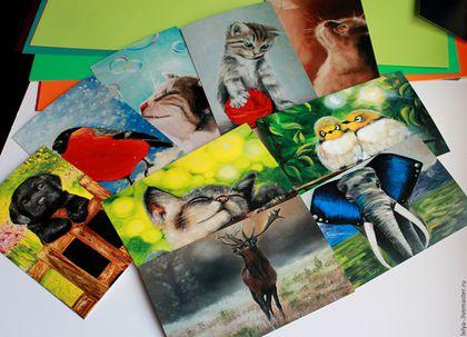 Открытки на все случаи жизни ручной работы. Ярмарка Мастеров - ручная работа. Купить Большой набор открыток Животные. Handmade. Комбинированный