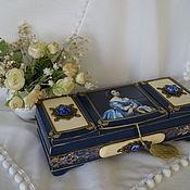 """Для дома и интерьера ручной работы. Ярмарка Мастеров - ручная работа Шкатулка """"Дама в синем"""". Handmade."""