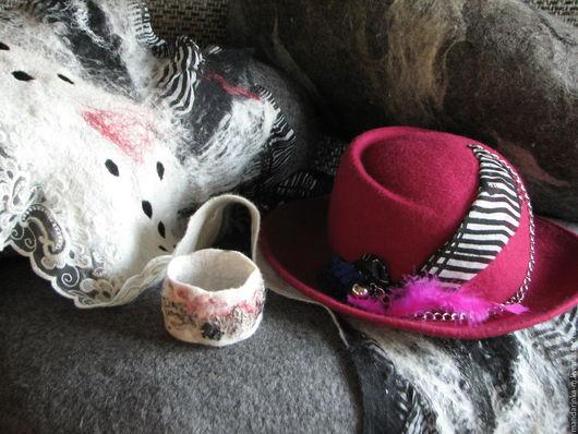 Шляпы ручной работы. Ярмарка Мастеров - ручная работа. Купить Шарфик, браслет и шляпка – комплект.. Handmade. Фуксия