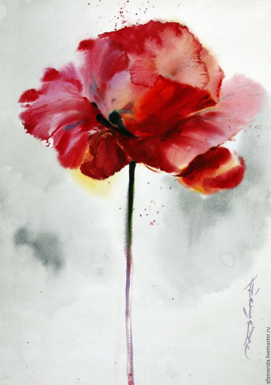 Картины цветов ручной работы. Ярмарка Мастеров - ручная работа. Купить акварель мак. Handmade. Ярко-красный, цветок, яркий