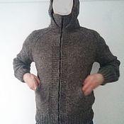 Мужская одежда handmade. Livemaster - original item Zip-up hooded sweater.Sheep wool 100%. Handmade.