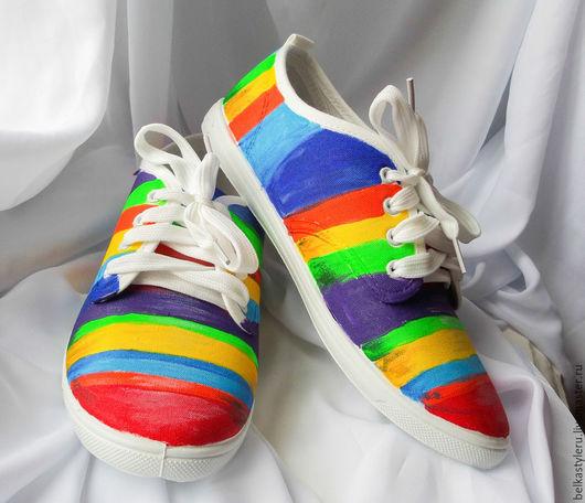 """Обувь ручной работы. Ярмарка Мастеров - ручная работа. Купить Кеды женские  """"Радуга"""", кеды с рисунком,  роспись кед.. Handmade."""