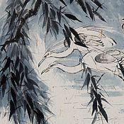 Картины и панно ручной работы. Ярмарка Мастеров - ручная работа картина Ветер в ивах(китайская живопись птицы вода декор гостиной). Handmade.