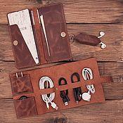 Сумки и аксессуары handmade. Livemaster - original item Travel genuine leather accessories set. Handmade.
