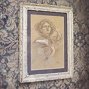 Картины и панно ручной работы. Ярмарка Мастеров - ручная работа картина Ветряная девушка (в состаренной раме, сиреневый, бежевый). Handmade.