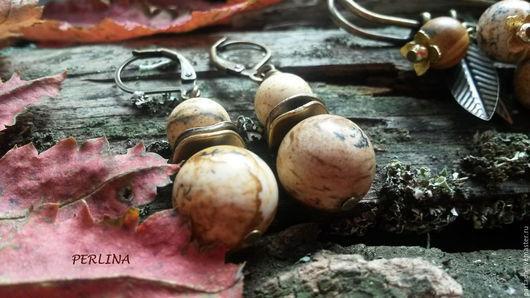 `Тоскана` серьги из пейзажной яшмы. Серьги из камней. PERLINA Магазин украшений. Коричневые  серьги. Серьги из яшмы. Серьги с камнями. Серьги с натуральными камнями. Серьги яшма. Италия серьги.