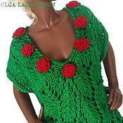 Одежда ручной работы. Ярмарка Мастеров - ручная работа Вязаный жилет с красными розами от Olga Lace. Handmade.