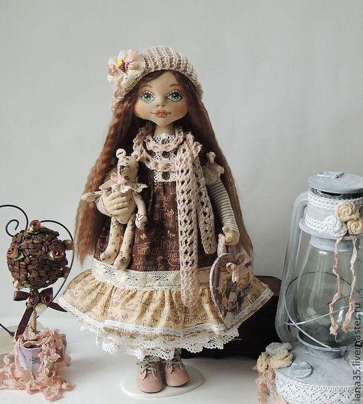 Коллекционные куклы ручной работы. Ярмарка Мастеров - ручная работа. Купить Кофейная гномочка. Handmade. Коричневый, подарок девушке, трикотаж
