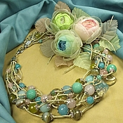 Украшения handmade. Livemaster - original item Fairy Colored Waterfall. A necklace and three brooches flower. Handmade.