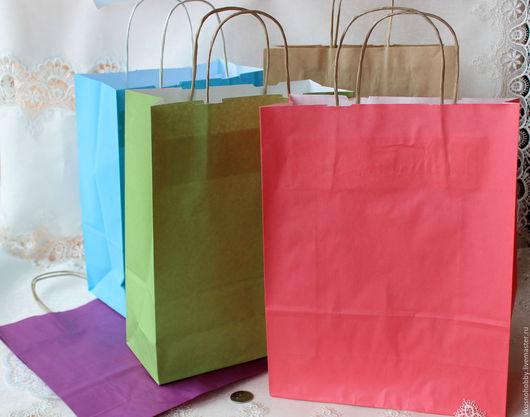 Упаковка ручной работы. Ярмарка Мастеров - ручная работа. Купить Пакет-крафт однотонный большой (зеленый, розовый, фиолетовый, голубой). Handmade.