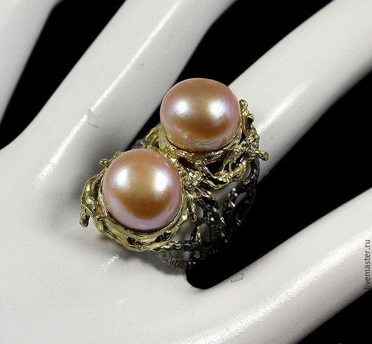 Кольца ручной работы. Ярмарка Мастеров - ручная работа. Купить Роскошное кольцо с двумя крупными жемчужинами. Handmade. Кремовый