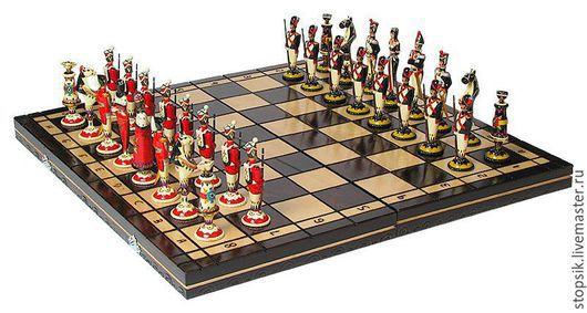 Настольные игры ручной работы. Ярмарка Мастеров - ручная работа. Купить Шахматы Красные мундиры (фигуры из хлеба, складная доска) 12821. Handmade.