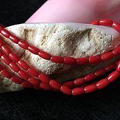 Бусины ручной работы. Ярмарка Мастеров - ручная работа Бусина 4х7 мм Оливка (15), корал. Handmade.