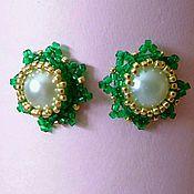 Stud earrings handmade. Livemaster - original item Stud earrings 02 green beads and cabochon. Handmade.