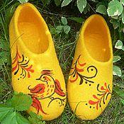 """Обувь ручной работы. Ярмарка Мастеров - ручная работа Войлочные тапки """"Золотая Хохлома"""". Handmade."""