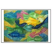 """Открытки ручной работы. Ярмарка Мастеров - ручная работа Открытка авторская - """"Много-много рыб"""". Handmade."""