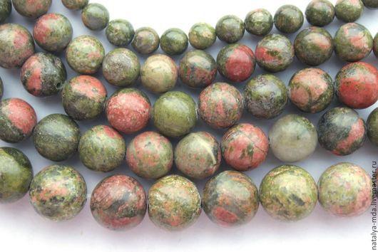 Для украшений ручной работы. Ярмарка Мастеров - ручная работа. Купить Унакит круглые бусины. Handmade. Хаки, унакит