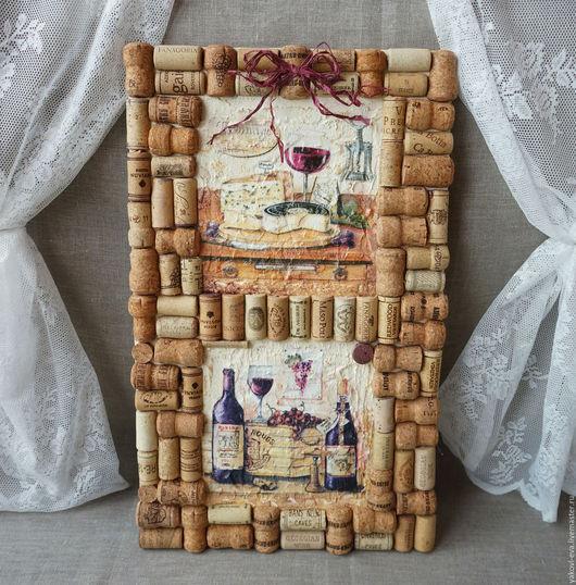 Панно-натюрморт винное. Вино,сыр,бокал вина,штопор,виноград,натюрморт. Подарок для женщин и мужчин. 8 марта,23 февраля,день рождения,юбилей,новоселье.Винное,вино,бутылка