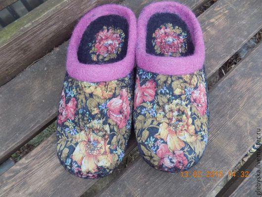 """Обувь ручной работы. Ярмарка Мастеров - ручная работа. Купить Тапочки """"Черные узоры"""". Handmade. Комбинированный, лечебная обувь"""
