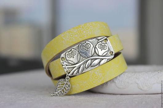 """Браслеты ручной работы. Ярмарка Мастеров - ручная работа. Купить Браслет желтый """"Сова"""". Handmade. Желтый, кожаный браслет"""