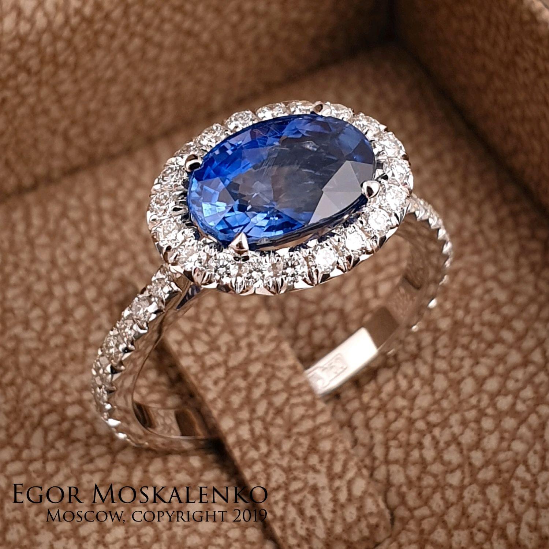 Золотое кольцо с сапфиром и бриллиантами, Кольца, Москва,  Фото №1