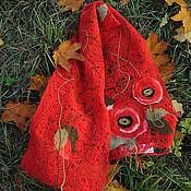 """Аксессуары ручной работы. Ярмарка Мастеров - ручная работа Шарф """"Маки на красном"""". Handmade."""