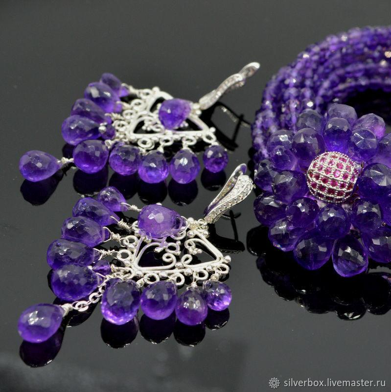 Jewelry Sets handmade. Livemaster - handmade. Buy Amethyst Bracelet Amethyst Chandelier Earrings.Chandelier earrings, purple bracelet