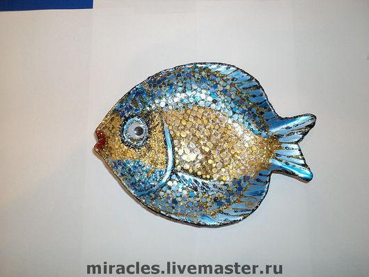Тарелки ручной работы. Ярмарка Мастеров - ручная работа. Купить Золотая рыбка (волшебная). Handmade. Золотая рыбка, талисман