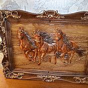 Панно ручной работы. Ярмарка Мастеров - ручная работа Панно: панно лошади. Handmade.